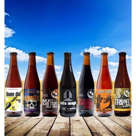 Pack cervezas artesanales cervecería Calavera tripel de abadia yule ofrenda corazon negro quiero chela
