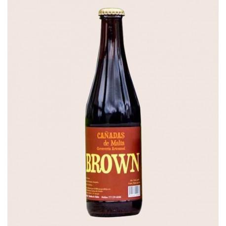 Cerveza artesanal cañadas de malta brown quiero chela
