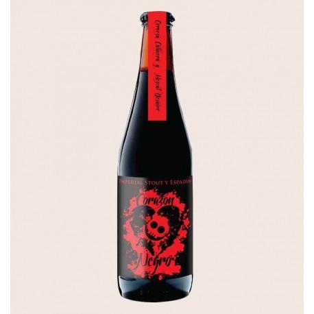 Cerveza artesanal corazon negro calavera Imperial Stout con Mezcal y Agave quiero chela